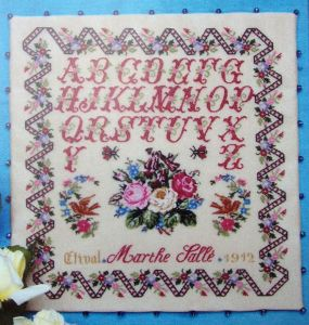 EXQUISITE FRENCH ANTIQUE SAMPLER CROSS STITCH PATTERN CHART Marthe 1912